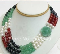Fashion 8mm Red Green Jade & Black Agate Necklace  Jade Clasp