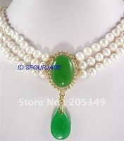 Fashion jewelry 3 Strands White Freshwater Pearl & Green Jade Necklace