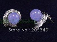 Fashion jewelry Pair 18K Gold Plated PUrple Jade Earring