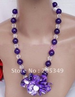 """Fashion jewelry 18\"""" Amthyest & White Crystal Necklace Shell Flower"""