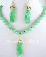 Fashion jewelry Set Green Jade  Earring pendant Necklace