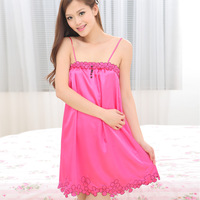 Spaghetti strap nightgown sweet faux silk sexy short skirt sleepwear female women's 168