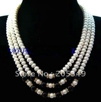 Fashion jewelry 3 Strands White Freshwater Pearl Black Agate Necklace