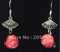 Fashion jewelry 18K Gold Plated Pink Coral Flower Earring