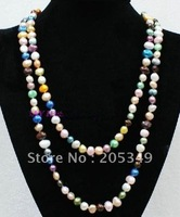 """Fashion jewelry 48\"""" Mutilcolor 8-9mm Freshwater Pearl Necklace"""