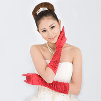Flower wedding gloves formal dress gloves bridal gloves long gloves red
