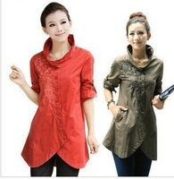 2013 Plus size Loose Casual medium-long embroidered long-sleeve Women shirt,Ladies Fashion blouses