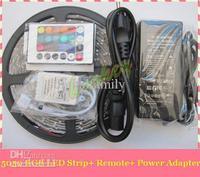 Wholesale 72W Led Flexible Strip RGB 5M SMD 5050 60LED/Meter +24 key Remote Controller +Power supply via FEDEX free shipping