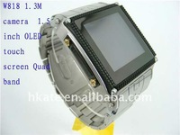 Stainless Steel Waterproof W818 watch mobile phone ( quad band+1.5''+2.0MP camera+2.0 Bluetooth+FM)