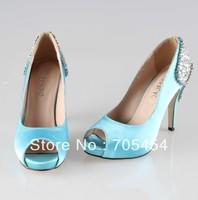 BS374 free shipping peep toe light blue satin bridal wedding shoes evening shoes