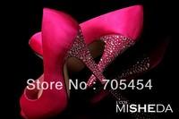 BS375 free shipping fuchsia peep toe bridal wedding shoes evening shoes with rhinestones heel