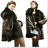 Women Faux Fur  Coats Fake Black Mink Coats with Big Fur Collar Free Shipping