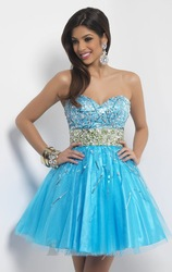 Sequins Bead Blues Homecoming Party Cocktail Pageant Formal Graduation Dresses(China (Mainland))