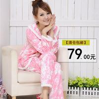 Coral fleece sleepwear female autumn and winter long-sleeve young girl sleep set lounge 3603