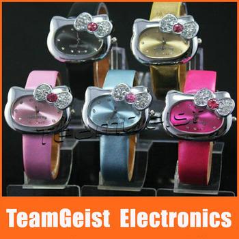 Fedex DHL Free Shipping 200/lot Fashion Wristwatch Butterfly Diamond Hello Kitty watch Band Quartz Lady's Leather Wrist Watch