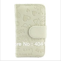Free shipping!!20Pcs Factory price PU leather flip pouch wallet case cover for iphone 4 4s,luxury leather case
