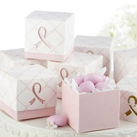 "120PCS ""In Favor Of A Cure"" Pink Ribbon for Wedding Candy Gift Chocolate Favor Boxes Wholesale Free Shipping"
