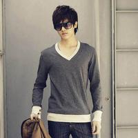 Male sympathize teenage long-sleeve T-shirt clothes male trend autumn basic shirt V-neck shirt t