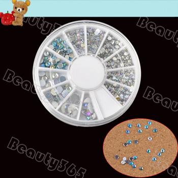 New 10Wheel/Lot 12 Grid Rainbow Wheel Nail Art Decoration Finger Nail Glitter Rhinestone 8327
