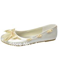 Aineny99I Hot vory Round Toe Flat Heel Bowtie Pumps Satin Wedding Bridal Evening Party Shoes With Ribbon Free ShippingL069