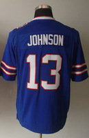 #13 Steve Johnson Men's Game Team Blue Football Jersey