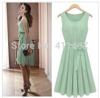 Free shipping New 2013   Chiffon dress,S,M,L lady T-Shirt Dress ,elegant lady vest green dress