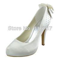 Aineny99Silver Ivory White Round Toe Bowtie Inside Platform Stiletto Heel Satin Wedding Bridal Evening Party Shoes Beading L1002