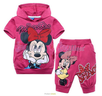 2013 Summer 6set/lot children Minnie Clothing sets baby girl cartoon clothing set,kids T-shirt with cap +pants C623C6723