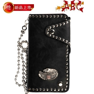 Abc male wallet Halley personality wallet b-204-073 black wallet costume men's clothing(China (Mainland))