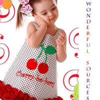 Free Shipping!  Wholesale !2013 summer Baby girl cute cherry Dress ,80-120cm Children clothes ,5pcs/lot.