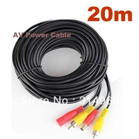 20m meters 65Ft RCA Video AV Power Cable for TV CCTV Car Truck Rearview camera Kits Free Shipping