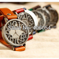 Ancient silver relief stereoscopic word dial vintage cowhide layd watch unisex genuine cow leather watchband casual table