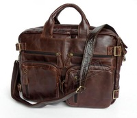 Genuine leather man bag Medium long design multi purpose commercial laptop bag men document laptop bag 7026r