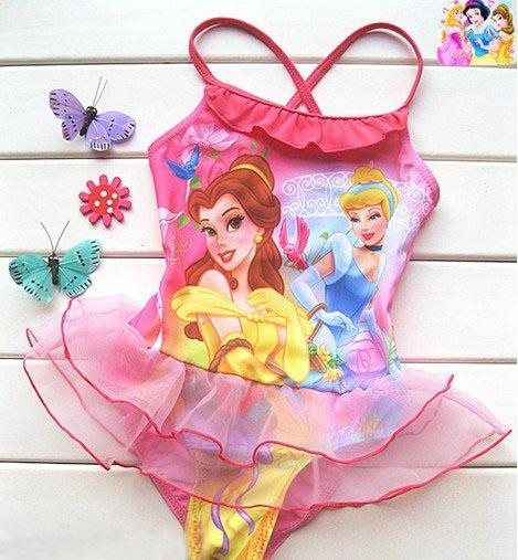free shipping 6pcs/lot girl swimming costume cartoon princess bathers ...