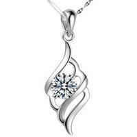 100% genuine 925 sterling silver crystal pendant choker necklace wholesale women jewelry DD008