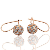 18k gold plated hoop earrings for women 2013 health care fashion balls jewelry with rhinestone E019