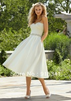 Wholesale Price Classic Sweetheart White Satin Beaded 2013 Tea Wedding  Dress Custom