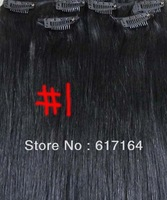 """20""""-26"""" 8pcs Attached Clips in  Remy Indian Hair Extensions #1 jet black 105g in Women's Beauty Hairsalon in Fashion"""