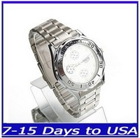 F04190 Fashion Quartz Sport Waterproof Stainless Steel Wrist Watch , White for Men Best gift + US free shipping