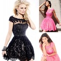Best Selling 2013 Sexy New Short Sleeves Sequins Beaded Black Mini Short Lace Cocktail Dresses Prom Dresses