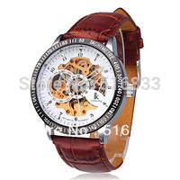 Stylish ik Mechanical Men Wrist Watch with PU Leather Band White free shipping
