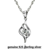 100% genuine 925 sterling silver swiss sparkling pendant necklace fashion women crystal jewelry DD014