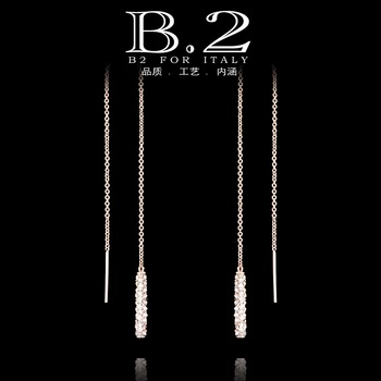 Fashion personality 18k gold ultra long tassel crystal earring ear chain female brief diamond accessories earring