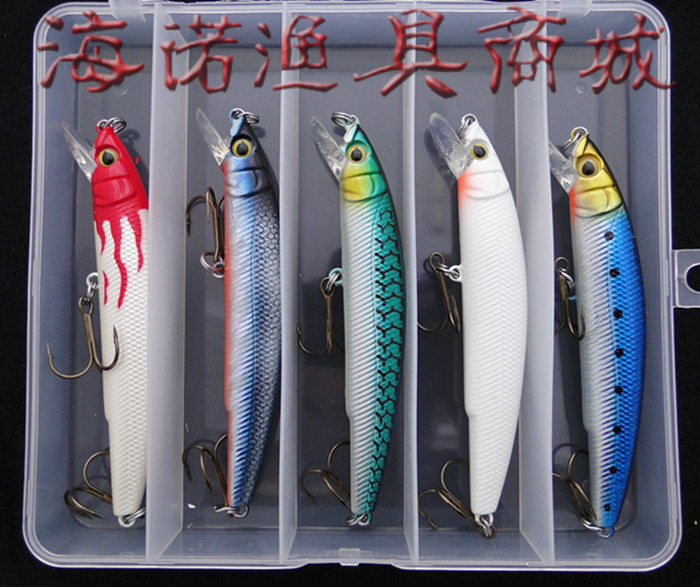 Minnow lure set lure 5 piece set with box 18 vmc hooks lure set(China (Mainland))
