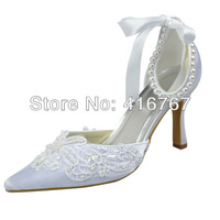 Aineny99New Design White Pointed Toe Stiletto Heel Pearl Lace Up Satin Wedding Bridal Shoes With Ribbon Free ShippingL722