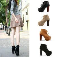 Ladies 4 Color Lita platforms high heels Lace Up Ankle shoes 5 5.5 6 6.5 7