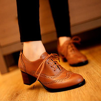 2014 New spring office shoes,  fashion unisex vintage style low pumps ,carved  cut-out thick heels shoes plus size 34-43 -D82