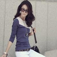 Autumn women's fashion colorant match long-sleeve T-shirt personality girls o-neck slim shirt