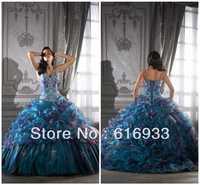 Prom dress 2013 beaded spaghetti strap silver embroidery ruffle puffy ball gown purple blue Prom dress WA016