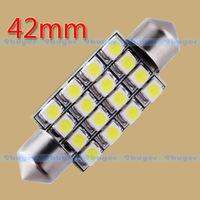 100pcs  42mm 16 SMD Pure White Dome Festoon 16 LED Car Light Bulb Lamp Interior Lights C5W Led